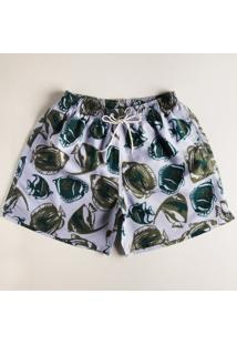 Shorts Surf Estampado Azul Claro M